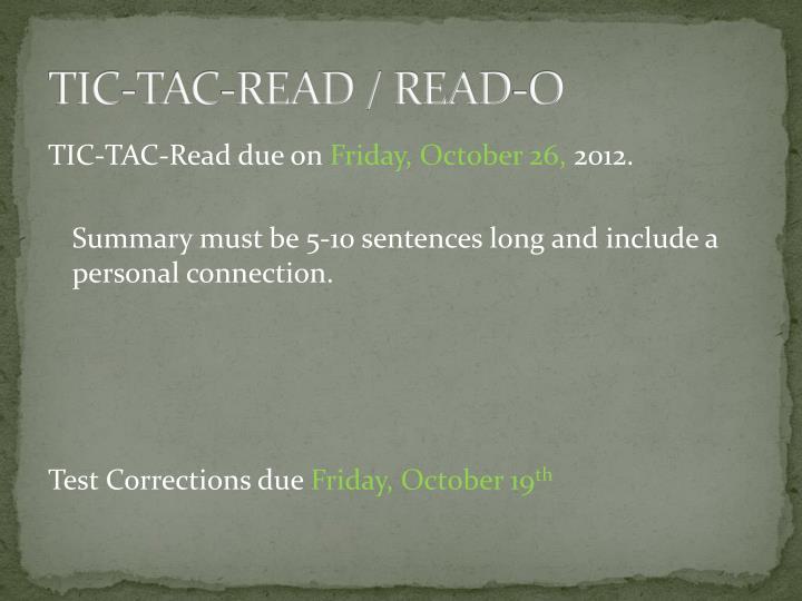 TIC-TAC-READ / READ-O