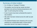 summary of initial incident