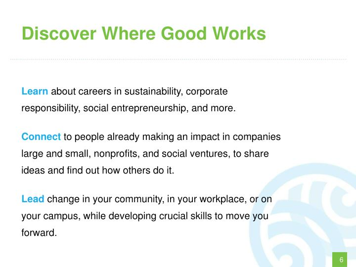 Discover Where Good Works
