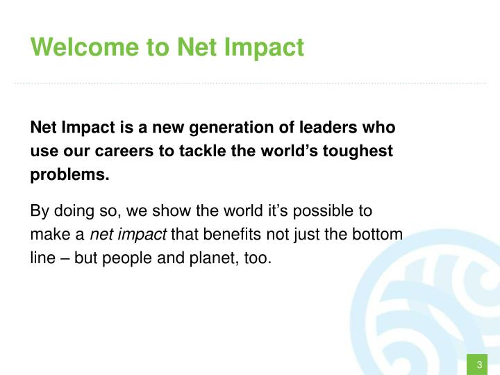 Welcome to Net Impact