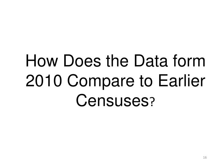 How Does the Data form 2010 Compare to Earlier Censuses