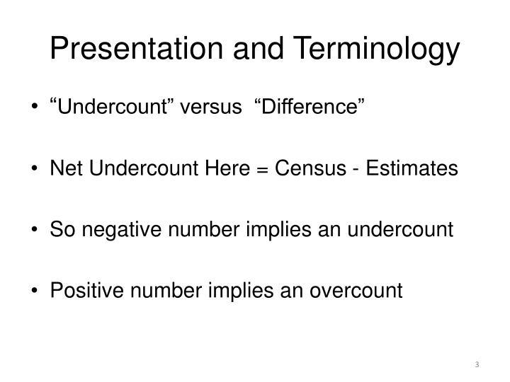 Presentation and Terminology
