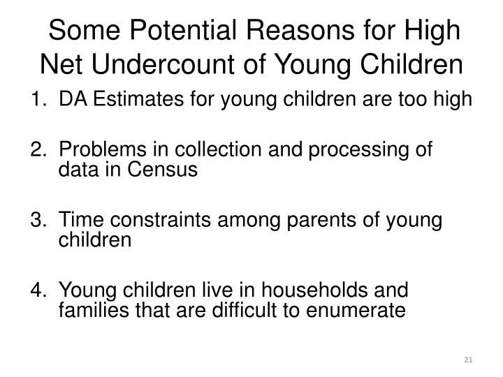 Some Potential Reasons for High Net Undercount of Young Children