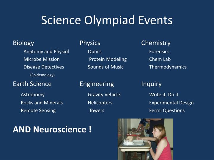 Science olympiad events