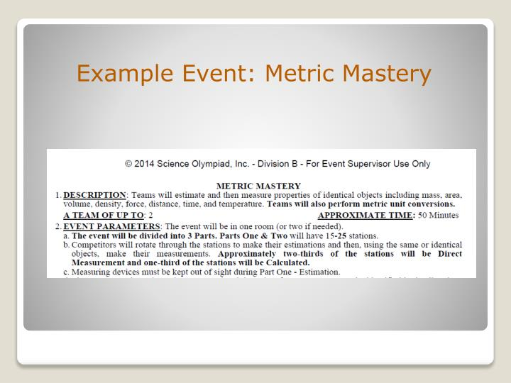 Example Event: Metric Mastery