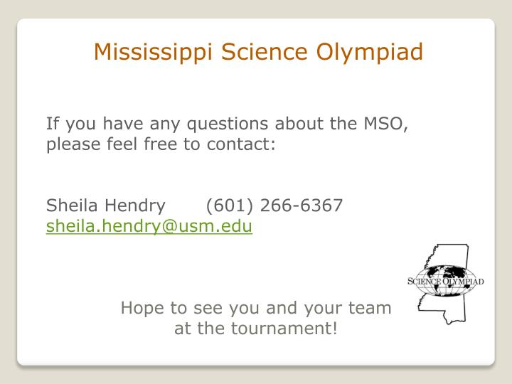 Mississippi Science Olympiad