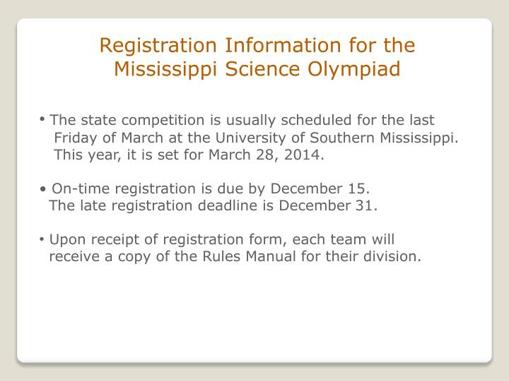 Registration Information for the