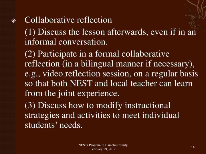 Collaborative reflection