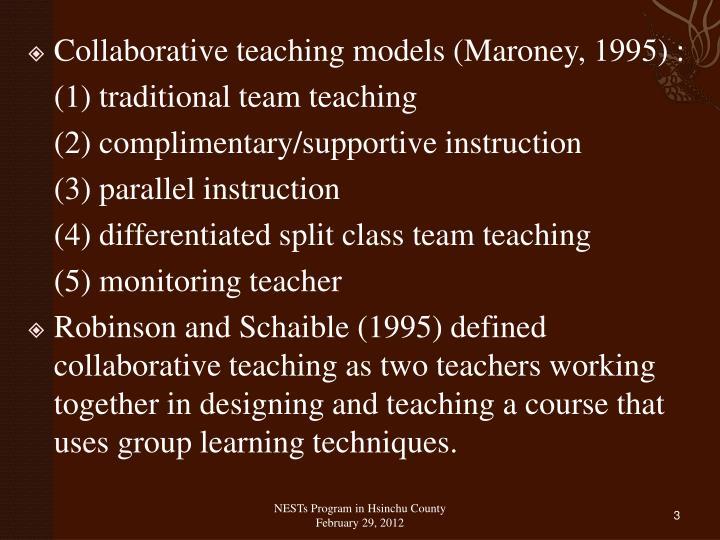 Collaborative teaching models (