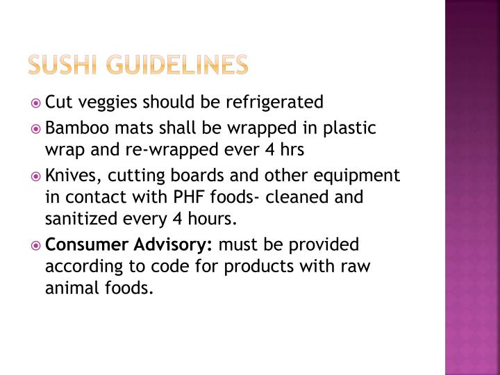 Sushi Guidelines