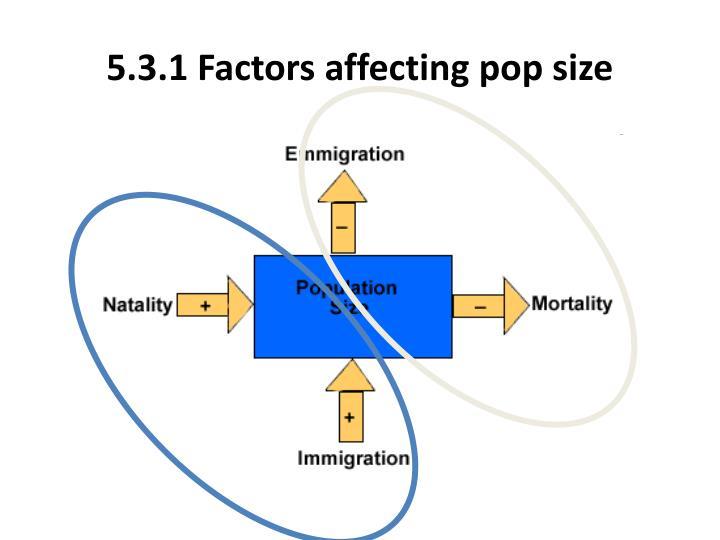 5.3.1 Factors affecting pop size
