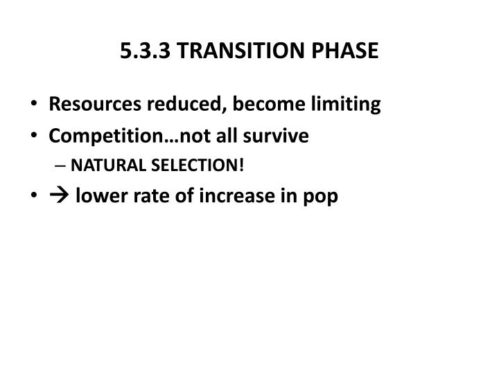 5.3.3 TRANSITION PHASE