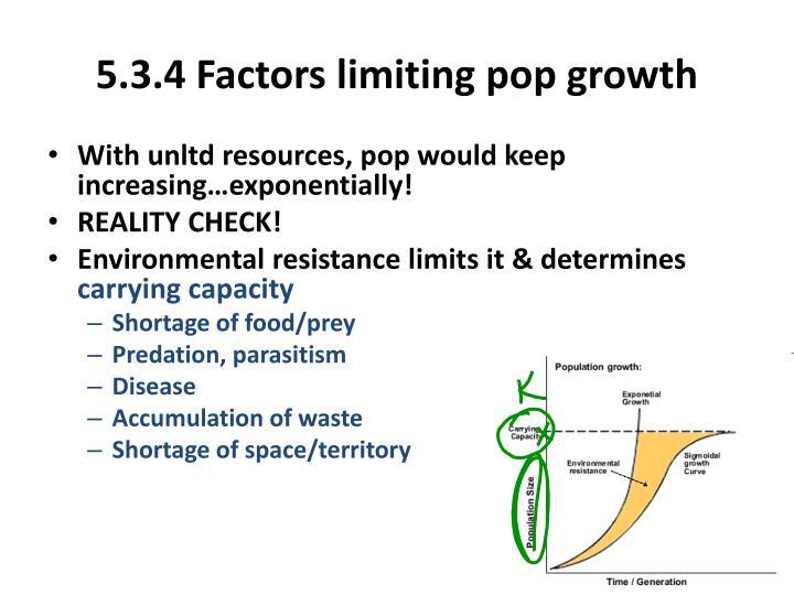 5.3.4 Factors limiting pop growth