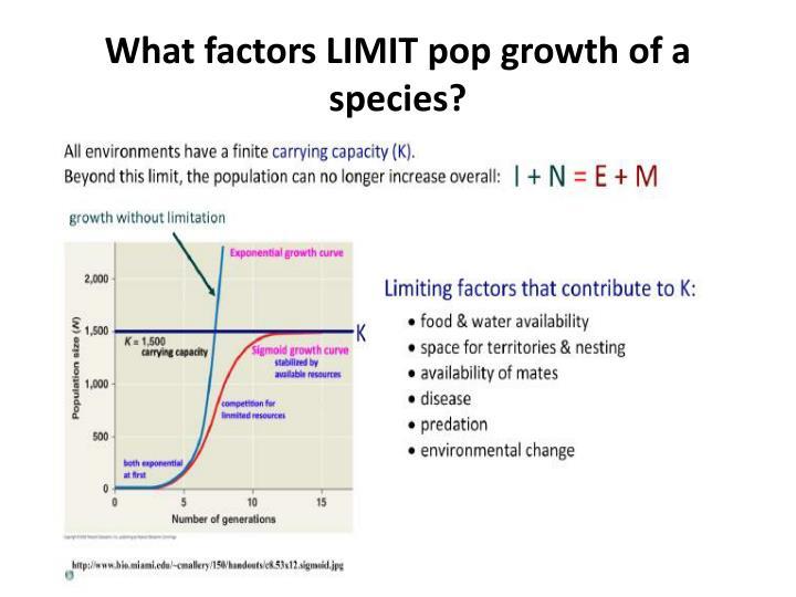 What factors LIMIT pop growth of a species?