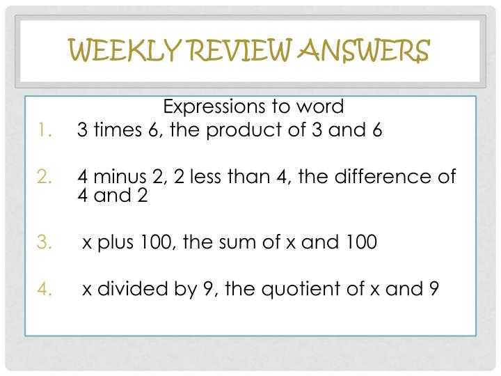 Weekly Review Answers