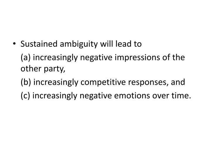 Sustained ambiguity will lead to