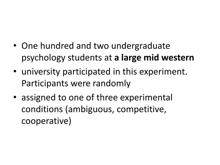 One hundred and two undergraduate psychology students at