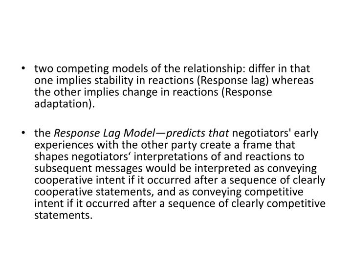two competing models of the relationship: differ in that one implies stability in reactions (Response lag) whereas the other implies change in reactions (Response adaptation).