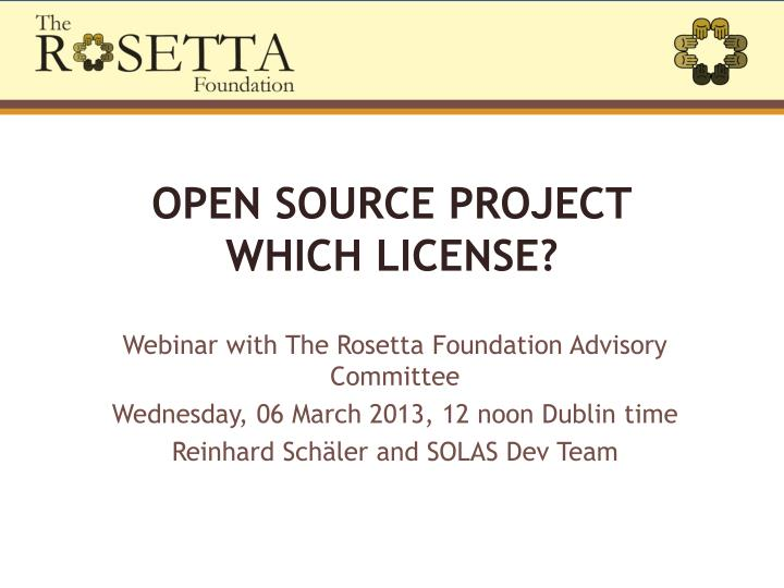 Open source project which license