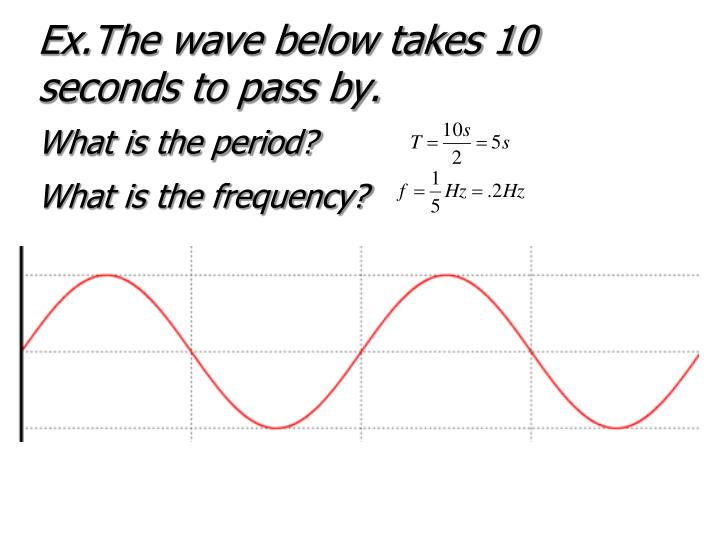 Ex.The wave below takes 10 seconds to pass by.