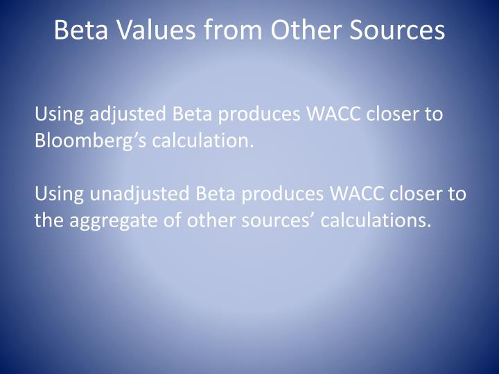 Beta Values from Other Sources