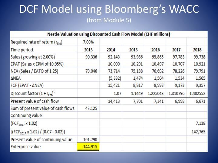 DCF Model using Bloomberg's WACC