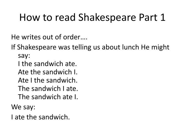 How to read Shakespeare Part 1
