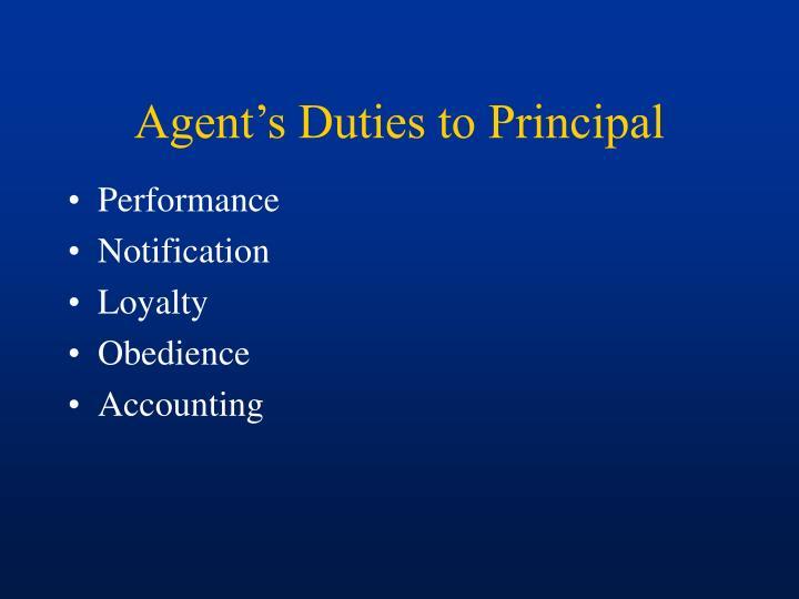 Agent's Duties to Principal