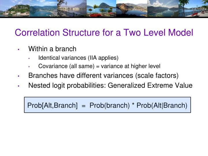 Correlation Structure for a Two Level Model