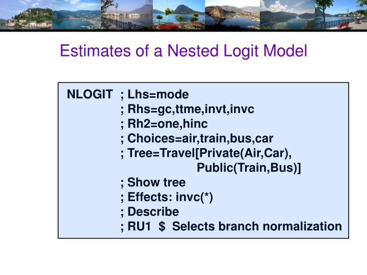 Estimates of a Nested Logit Model