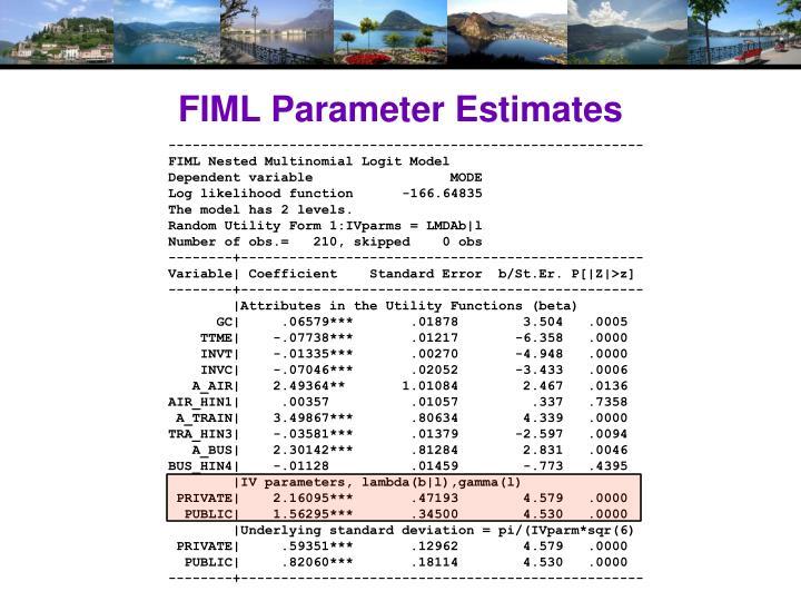 FIML Parameter Estimates