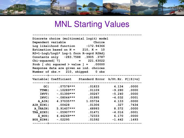 MNL Starting Values