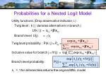 probabilities for a nested logit model
