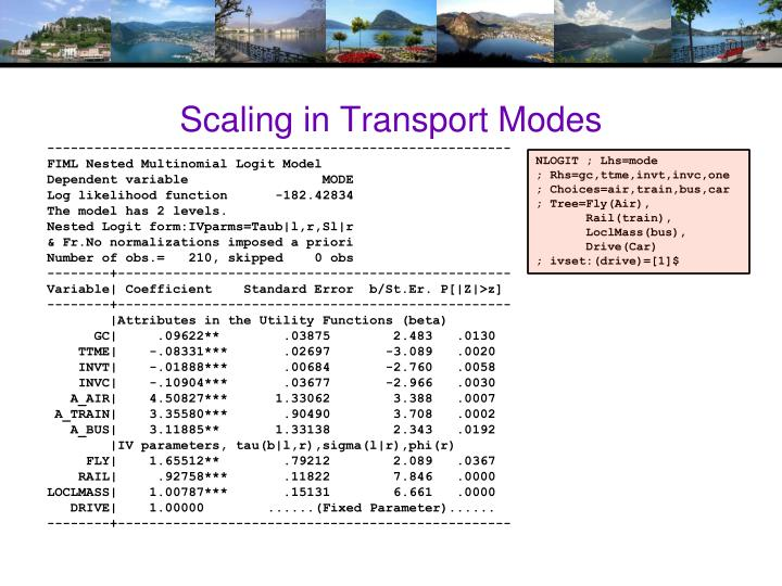 Scaling in Transport Modes