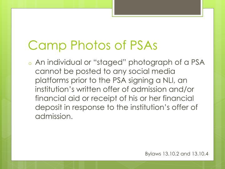 Camp Photos of PSAs