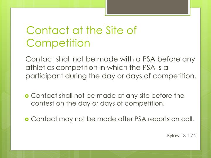 Contact at the Site of Competition