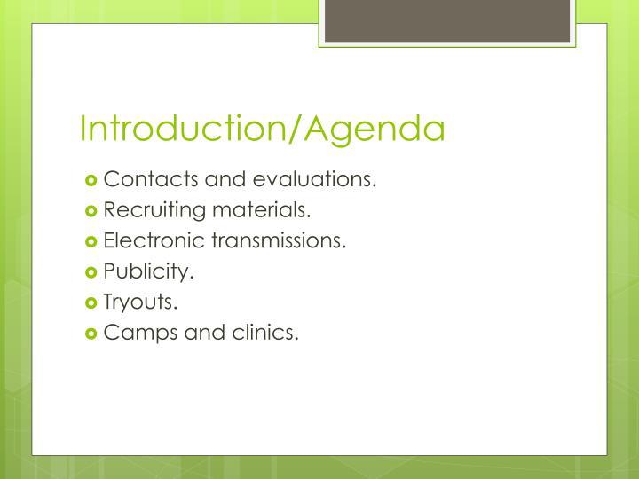 Introduction/Agenda