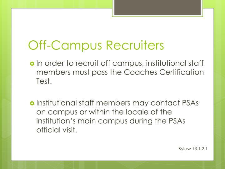 Off-Campus Recruiters