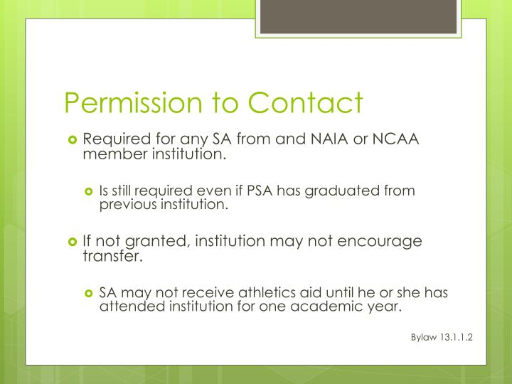 Permission to Contact
