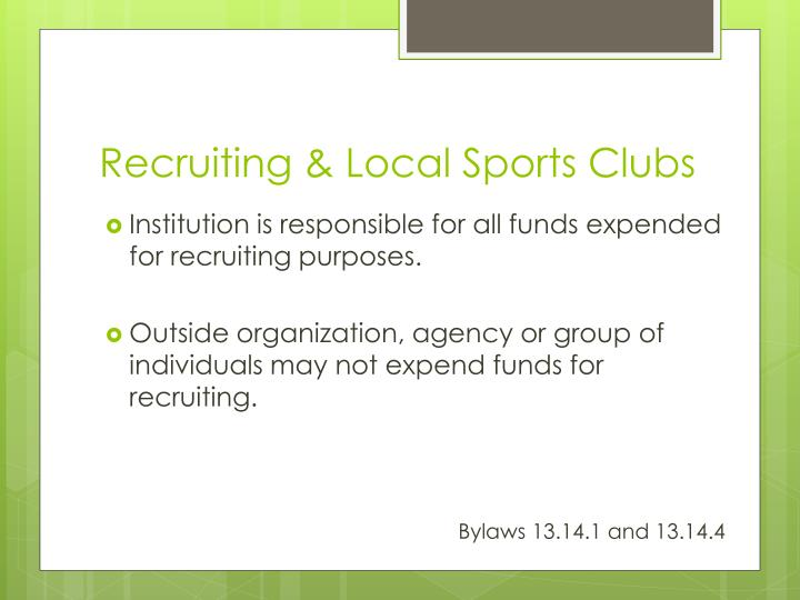 Recruiting & Local Sports Clubs