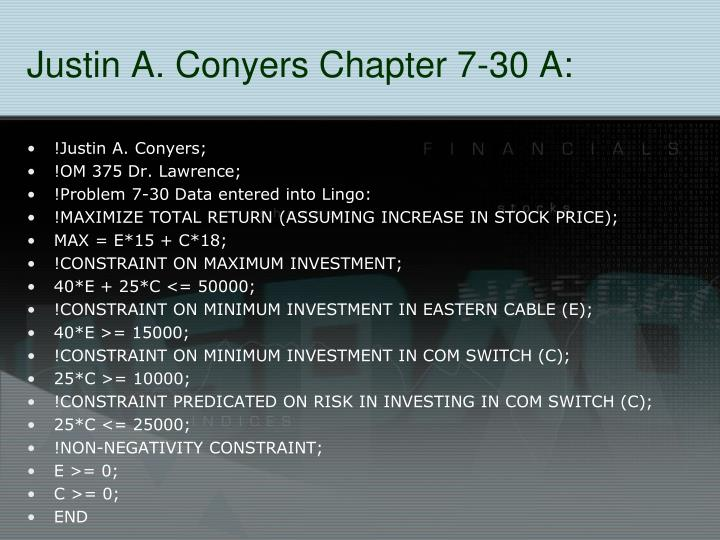 Justin A. Conyers Chapter 7-30 A