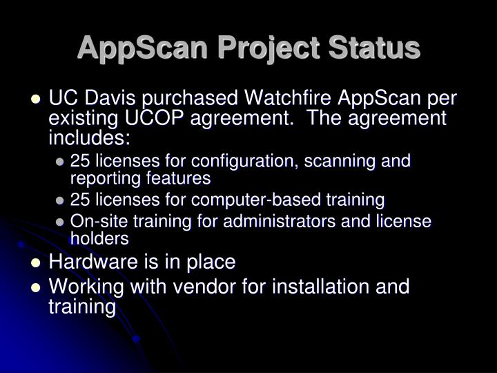 AppScan Project Status