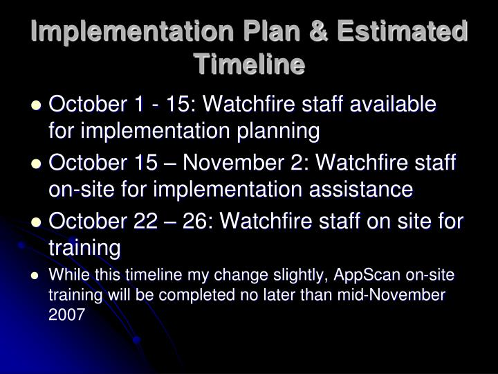Implementation Plan & Estimated Timeline