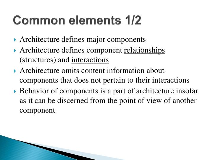 Common elements 1/2