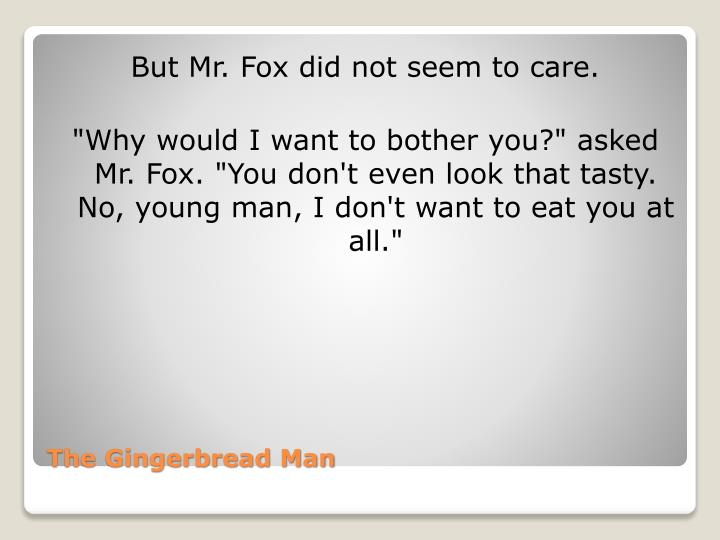 But Mr. Fox did not seem to care.