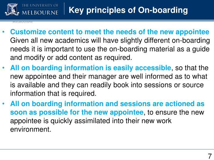 Key principles of On-boarding