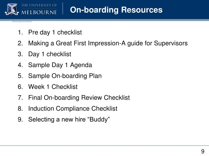 On-boarding Resources