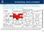 on boarding what is included