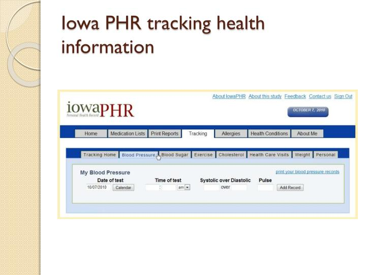 Iowa PHR tracking health information