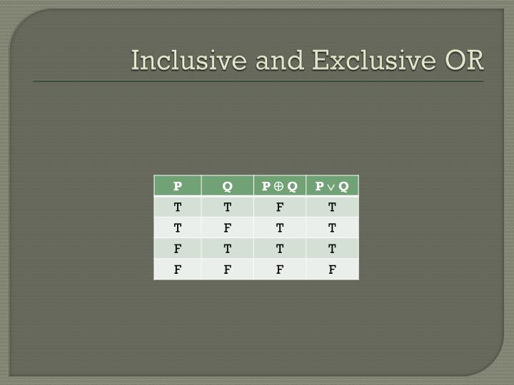 Inclusive and Exclusive OR